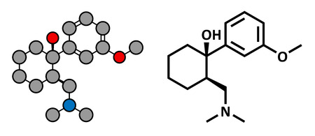 opioid: Tramadol opioid analgesic drug, chemical structure. Conventional skeletal formula and stylized representation, showing atoms (except hydrogen) as color coded circles.