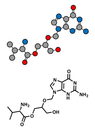 immunodeficiency syndrome: Valganciclovir cytomegalovirus (CMV, HCMV) drug, chemical structure. Conventional skeletal formula and stylized representation, showing atoms (except hydrogen) as color coded circles.  Illustration
