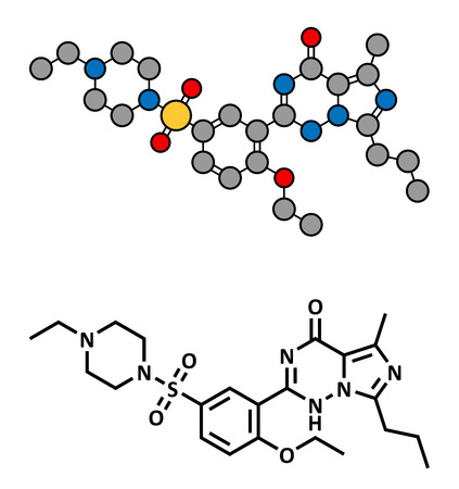 Vardenafil erectile dysfunction drug, chemical structure. Conventional skeletal formula and stylized representation, showing atoms (except hydrogen) as color coded circles.  Vector