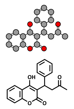 embolism: Warfarin anticoagulant drug, chemical structure. Used in thrombosis and thromboembolism prevention. Conventional skeletal formula and stylized representation, showing atoms (except hydrogen) as color coded circles.