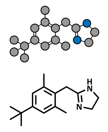 mucous membrane: Xylometazoline nasal decongestant, chemical structure. Often used in nose spray and nose drops. Conventional skeletal formula and stylized representation, showing atoms (except hydrogen) as color coded circles.