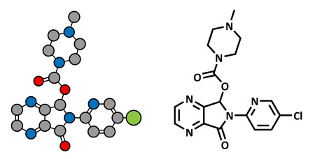 Zopiclone insomnia drug (sleeping pill, z-drug), chemical structure. Conventional skeletal formula and stylized representation, showing atoms (except hydrogen) as color coded circles.  Illustration