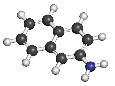 carcinogen: 2-naphthylamine carcinogen molecule. Sources include cigarette smoke. May play a role in development of bladder cancer. Atoms are represented as spheres with conventional color coding: hydrogen (white), carbon (grey), nitrogen (blue).