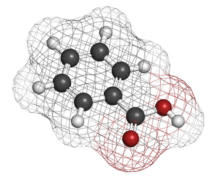 preservatives: Benzoic acid molecule. Benzoate salts are used as food preservatives. Atoms are represented as spheres with conventional color coding: hydrogen (white), carbon (grey), oxygen (red).