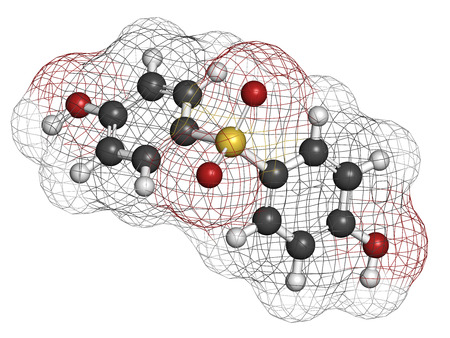 Bisphenol S (BPS) plasticizer molecule. Used as curing agent in epoxy glues and as alternative to BPA. Atoms are represented as spheres with conventional color coding: hydrogen (white), carbon (grey), oxygen (red), sulfur (yellow).