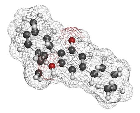 Cannabidiol (CBD) cannabis molecule. Has antipsychotic effects. Atoms are represented as spheres with conventional color coding: hydrogen (white), carbon (grey), oxygen (red). Stok Fotoğraf