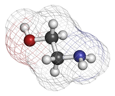 amine: Ethanolamine (2-aminoethanol) molecule. Atoms are represented as spheres with conventional color coding: hydrogen (white), carbon (grey), oxygen (red), nitrogen (blue).
