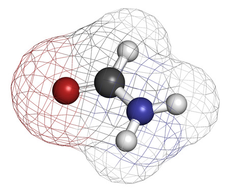 formic: La formamida (methanamide) mol�cula de disolvente. Los �tomos se representan como esferas con codificaci�n convencional color: hidr�geno (blanco), el carb�n (gris), ox�geno (roja), nitr�geno (azul). Foto de archivo