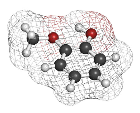 creosote: Guaiacol aromatic molecule. Responsible for the smoky taste of smoked foods. Atoms are represented as spheres with conventional color coding: hydrogen (white), carbon (grey), oxygen (red).