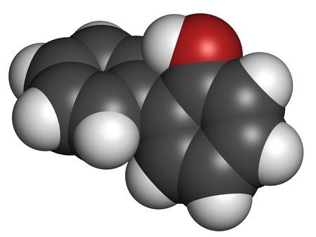 살균제: 2 - 페닐 페놀 방부제 분자. 살 생물 제는 식품 첨가물, 방부제 및 살균제로 사용된다. 수소 (흰색), 탄소 (회색), 산소 (적색) : 원자는 기존의 컬러 코딩 분야로 표시됩니다.