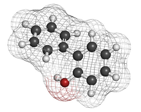 2-phenylphenol preservative molecule. Biocide used as food additive, preservative, and disinfectant.  Atoms are represented as spheres with conventional color coding: hydrogen (white), carbon (grey), oxygen (red). Stock Photo