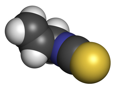 pungency: Allyl isothiocyanate mustard pungency molecule. Responsible for pungent taste of mustard, wasabi and radish. Atoms are represented as spheres with conventional color coding: hydrogen (white), carbon (grey), nitrogen (blue), sulfur (yellow).