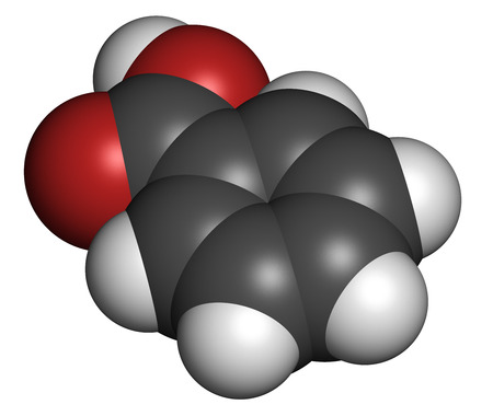 benzoic: Benzoic acid molecule. Benzoate salts are used as food preservatives. Atoms are represented as spheres with conventional color coding: hydrogen (white), carbon (grey), oxygen (red).