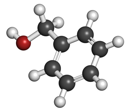 bacteriostatic: Benzyl alcohol solvent molecule. Used in manufacture of paint, ink, etc. Also used as preservative in drugs. Atoms are represented as spheres with conventional color coding: hydrogen (white), carbon (grey), oxygen (red).