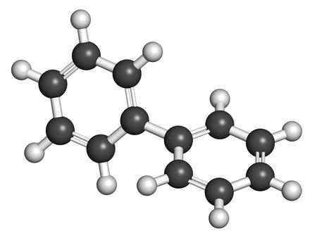 Lemonene ジフェニル (ビフェニル) 防腐剤分子。原子は従来の色コーディングの球として表される: 水素 (白)、炭素 (灰色)。 写真素材