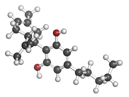 Cannabidiol (CBD) cannabis molecule. Has antipsychotic effects. Atoms are represented as spheres with conventional color coding: hydrogen (white), carbon (grey), oxygen (red). Archivio Fotografico