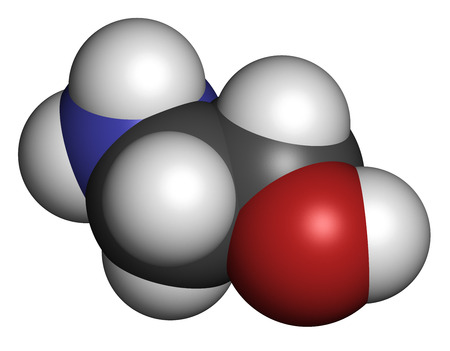 Ethanolamine (2-aminoethanol) molecule. Atoms are represented as spheres with conventional color coding: hydrogen (white), carbon (grey), oxygen (red), nitrogen (blue). photo