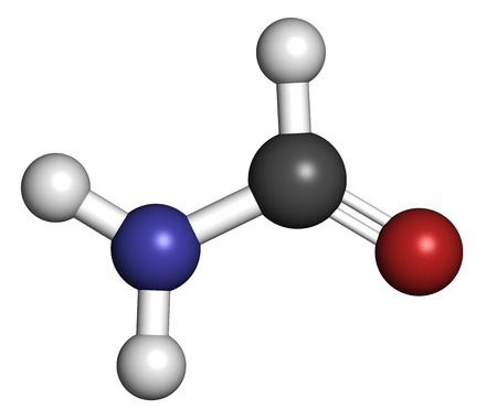 Formamide (methanamide) solvent molecule.  Atoms are represented as spheres with conventional color coding: hydrogen (white), carbon (grey), oxygen (red), nitrogen (blue).