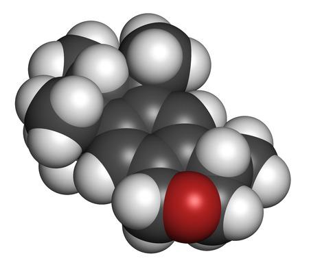 Galaxolid (HHCB) szintetikus pézsma molekula. Előállítása során felhasznált parfümök, szappanok, kozmetikumok, tisztítószerek stb atomok képviseletében a szférák hagyományos színkód: hidrogén (fehér), a szén (szürke), az oxigén (piros). Stock fotó - 29728975