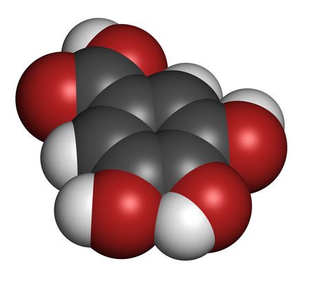 compounds: Gallic acid (trihydroxybenzoic acid) molecule. Present in many plants, including oak, tea and sumac. Both in the free form and is part of tannin compounds. Atoms are represented as spheres with conventional color coding: hydrogen (white), carbon (grey), o