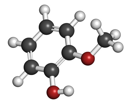 expectorant: Guaiacol aromatic molecule. Responsible for the smoky taste of smoked foods. Atoms are represented as spheres with conventional color coding: hydrogen (white), carbon (grey), oxygen (red).