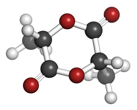 dimer: L-lactide PLA precursor molecule. Used in synthesis of polymeric polylactic acid (polylactide, polylactate) plastic. Atoms are represented as spheres with conventional color coding: hydrogen (white), carbon (grey), oxygen (red). Stock Photo