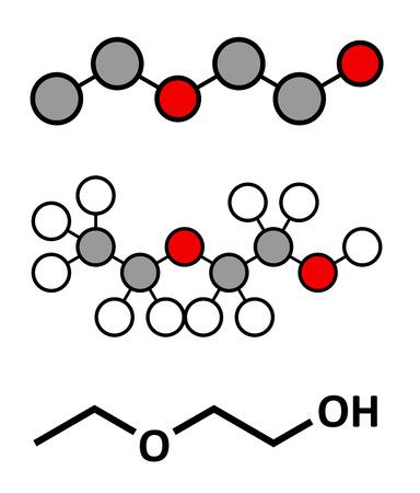 solvant: 2-�thoxy�thanol de mol�cule de solvant. Peut dissoudre de nombreux types de mol�cules et est donc utilis� dans les produits de nettoyage, solutions de d�graissage, les vernis, etc rendus stylis� 2D et formule squelettique classique.