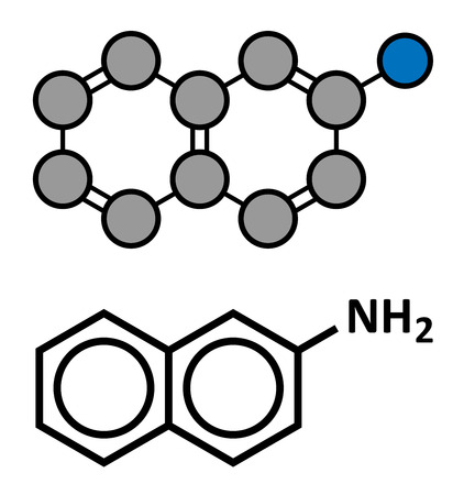 carcinogen: 2-naphthylamine carcinogen molecule. Sources include cigarette smoke. May play a role in development of bladder cancer. Stylized 2D rendering and conventional skeletal formula. Illustration
