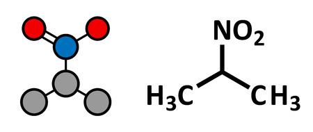 revestimientos: Nitropropano (2-nitropropano, 2-NP) mol�cula de solvente qu�mico. Se utiliza como disolvente en la fabricaci�n de tintas, pol�meros, recubrimientos, adhesivos, etc representaci�n estilizada 2D y f�rmula del esqueleto convencional.