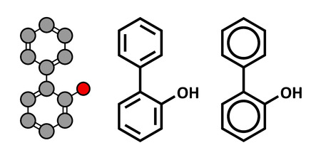 formulae: 2-phenylphenol preservative molecule. Biocide used as food additive, preservative, and disinfectant.  Stylized 2D rendering and conventional skeletal formulae.