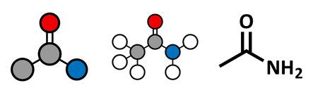 solvant: Ac�tamide (�thanamide) mol�cule. Utilis� comme plastifiant et solvant industriel. Canc�rig�ne (connu pour causer le cancer). Rendu 2D stylis� et formule squelettique classique. Illustration