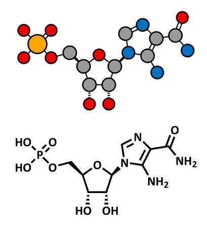 enhancing: AICA ribonucleotide (AICAR) performance enhancing drug molecule. Stylized 2D rendering and conventional skeletal formula.