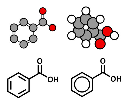formulae: Benzoic acid molecule. Benzoate salts are used as food preservatives. Stylized 2D renderings and conventional skeletal formulae.