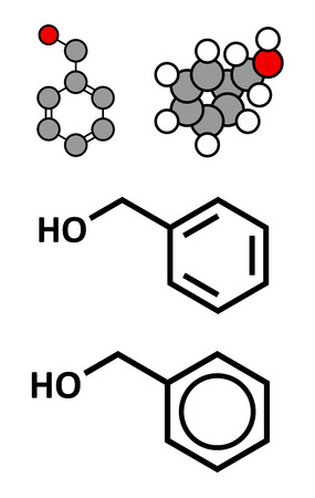 bacteriostatic: Benzyl alcohol solvent molecule. Used in manufacture of paint, ink, etc. Also used as preservative in drugs. Stylized 2D renderings and conventional skeletal formulae. Illustration