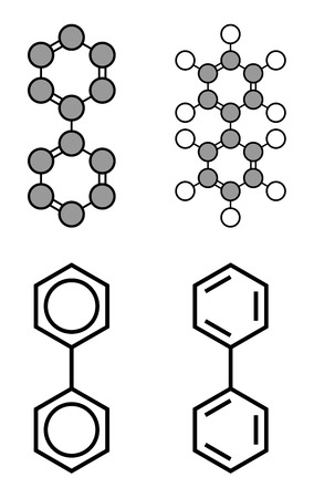 biphenyl: Lemonene (biphenyl, diphenyl) preservative molecule. Stylized 2D renderings and conventional skeletal formulae. Illustration