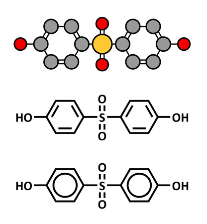 bpa: Bisphenol S (BPS) plasticizer molecule. Used as curing agent in epoxy glues and as alternative to BPA. Stylized 2D rendering and conventional skeletal formulae.