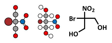 carcinogen: Mol�cula conservante bronopol. Posiblemente carcin�geno a trav�s de la formaci�n de nitrosaminas. Renderizados en 2D estilizadas y f�rmula esqueletal convencional.