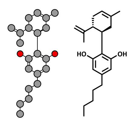 antioxidant: Cannabidiol (CBD) cannabis molecule. Has antipsychotic effects. Stylized 2D rendering and conventional skeletal formula.