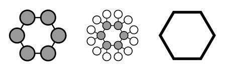 conformation: Mol�cula de disolvente qu�mico ciclohexano. Renderizados en 2D estilizadas y f�rmula esqueletal convencional. Vectores