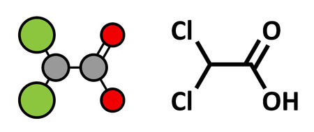 Dichloroacetic acid (DCA). Dichloroacetate salts inhibit the enzyme pyruvate dehydrogenase kinase and are evaluated in the treatment of cancer. Stylized 2D rendering and conventional skeletal formula.