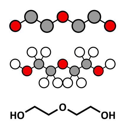solvant: Di�thyl�ne glycol chimique mol�cule de solvant. Tr�s toxique. Utilis� comme adult�rant dans le vin, les sirops et les m�dicaments contrefaits. Rendus 2D stylis�s et formule squelettique classique. Illustration