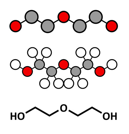 deg: Diethylene glycol chemical solvent molecule. Highly toxic. Used as adulterant in wine, syrups and counterfeit drugs. Stylized 2D renderings and conventional skeletal formula.