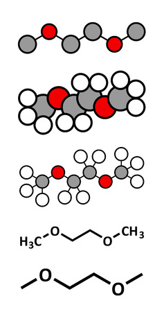 formulae: Dimethoxyethane (glyme, DME, dimethylene glycol) chemical solvent molecule. Stylized 2D renderings and conventional skeletal formulae. Illustration