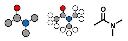 solvant: Le dim�thylac�tamide (DMAc) mol�cule de solvant chimique. Rendus 2D stylis�s et formule squelettique classique. Illustration