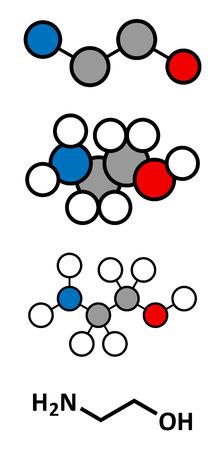 amine: Ethanolamine (2-aminoethanol) molecule. Stylized 2D renderings and conventional skeletal formula.