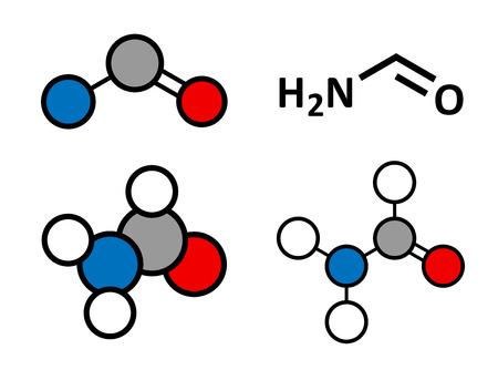 Formamide (methanamide) solvent molecule.  Stylized 2D renderings and conventional skeletal formula.