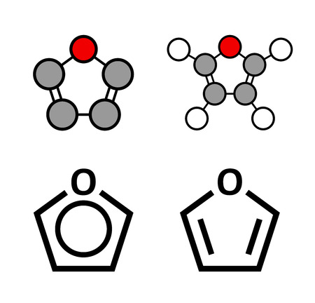 formulae: Furan heterocyclic aromatic molecule. Stylized 2D renderings and conventional skeletal formulae.