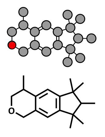 pollutant: Galaxolide (HHCB) synthetic musk molecule. Used in production of perfumes, soaps, cosmetics, detergents, etc. Stylized 2D rendering and conventional skeletal formula.