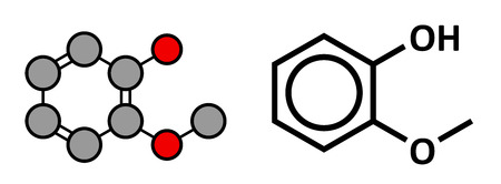 creosote: Guaiacol aromatic molecule. Responsible for the smoky taste of smoked foods. Stylized 2D rendering and conventional skeletal formula.
