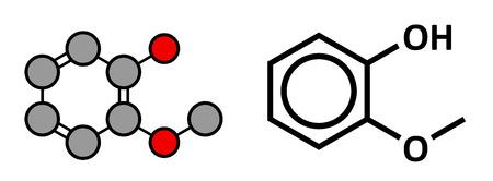 enfumaçado: Guaiacol molécula aromática. Responsável pelo sabor fumado de alimentos defumados. Renderização 2D estilizado e esquelético fórmula convencional.